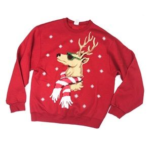 Reindeer In Sunglasses Ugly Christmas Sweater